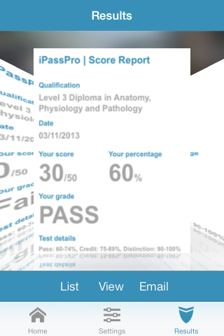 Cover flow Results screen showing score reports and pass grades for each Anatomy and Physiology parctice test taken