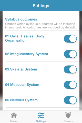 Settings screen showing selected Anatomy and Physiology subject areas: Integumentary, Skeletal, Muscular and Nervous Systems